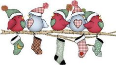 Birds on branch with stockings in color