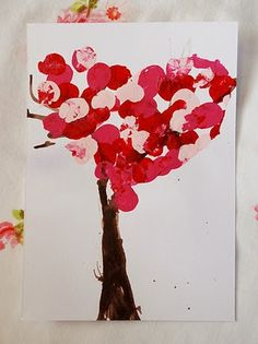 Valentine trees made with fingerprints
