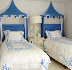 Fun blue and white with pagoda canopies.