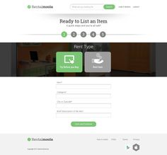 Upload product information screen for Rental Moola.