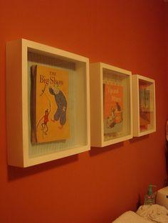 Cute decor idea. Frame old vintage books!