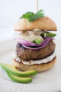 Summer Burger with Avocado, Red Onion, Horseradish Sour Cream Sauce & Dijon Mustard Mayonnaise at Cooking Melangery