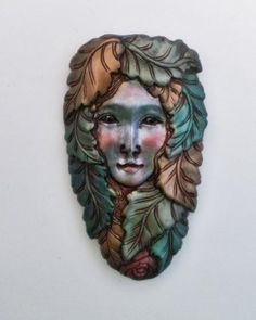 Forest fairy angel polymer clay focal bead face pendant green gold copper by Sweet2Spicy, via Flickr