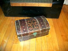 Antique Toy Trunk Hand Painted Dome Top 1800's