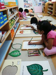 A busy Montessori classroom.