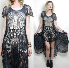 Crochet Dress VINTAGE LACE Black Cobweb SPIDERWEB Long Fishtail Bohemian Cotton Gothic Handmade ooak Size xs s m (AU$389.00) - Svpply