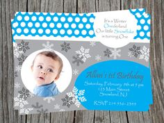 Baby Boy Winter Onederland Blue and White by NCGlamourDesigns, $11.00