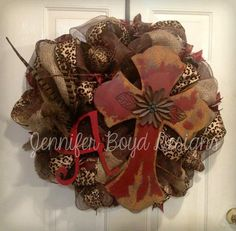 Western Rustic Red and Leopard print  with Pheasant feathers and Burlap Cross Deco Mesh Wreath, Personalized Initial Monogram