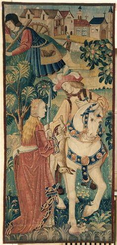 """Tapestry """"Le Retour de la chasse"""". Paris, musée de Cluny - musée national du Moyen-Age."""