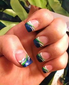 my Seahawk Nails done by Happy Nails!