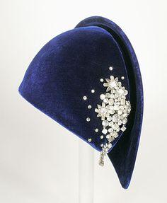 Halo Hat, Lily Daché (France, ca. 1907-1989): 1931, American, silk velvet, paste stones.
