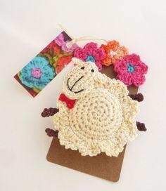 Crochet Christmas sheep brooch ornament by MonikaDesign on Etsy, $18.00 #crochet #brooch #sheep #ornament