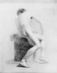 Seated Male Nude  Daniel Huntington (1816–1906) daniel huntington, seat male, nude daniel, male nude