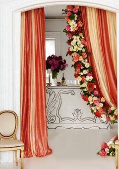 decor, curtains, colors, brides, drawing rooms, flower garland, fresh flowers, tie knots, black