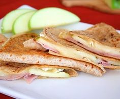Brie, Ham and Green Apple Quesadilla (Low Carb)