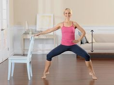 Horse Pose with Heels Lifted - Stand with feet more than hip-width apart, toes turned out to 2 and 10 o'clock, shoulders over hips, and abs tight. Bend knees and slide torso 6 inches down, bringing knees over ankles and in line with second toes. Place right hand on back of chair. Lift heels off floor and press evenly through toes. Hold for 5 breaths. Keeping heels lifted, slowly lower hips 1 inch, then press into balls of feet and lift hips up 1 inch. Continue 1-inch movements for 30 reps.