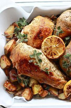 Greek chicken with lemon + oregano