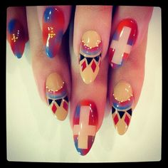 holy cross nail design tie dye church God nails art polish manicure tribal navajo studs cross Cool ??