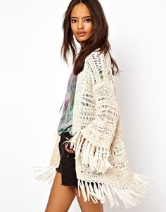 Image 1 of ASOS Kimono Cardigan In Crochet With Fringing. Open sweater. COOL $40.73 sale