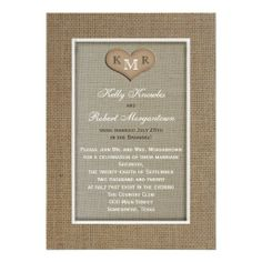 Post Wedding Reception Invitation -- Burlap