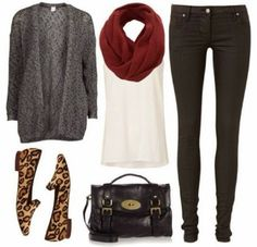 Grey cardigan, red scarf, white blouse, black pants and cheetah shoes for fall Fun and Fashion Blog