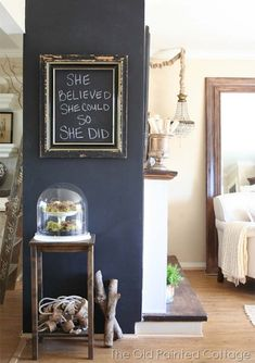 chalkboard wall with empty frame...