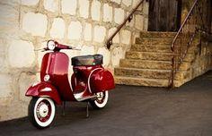 1966 retro red Vespa.