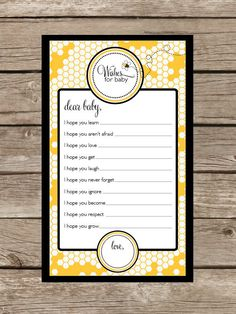 Bumble Bee Collection Baby Shower Game Wishes for by TwoTinyLoves- so doing this for Britts shower!