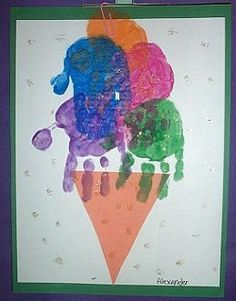 Painted Handprint Ice Cream Cone
