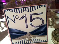 Blue & White Custom Design: Table Number - Double Backed, Added Ribbon, & Rhinestones