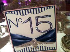 Blue & White Custom Design: Table Number - Double Backed, Added Ribbon, & Rhinestones