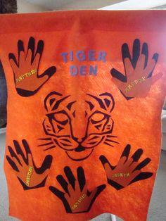 Tiger Den Flag Idea : Akeka Hand Behind Child Hand : Working Hand-in-Hand