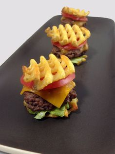 Waffle Fry Sliders by dudefoods #Sliders #Waffle_Fry