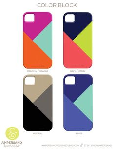 so many choices!!! iPhone 4 or 5 case - Color Block. $39.00, via Etsy.