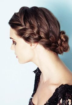 Lace braid and low braided bun.