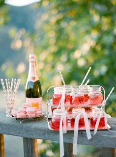 pink champagne mason jars