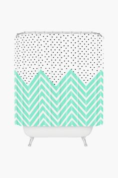 Dainty Dots and Chevron Stripes Shower Curtain