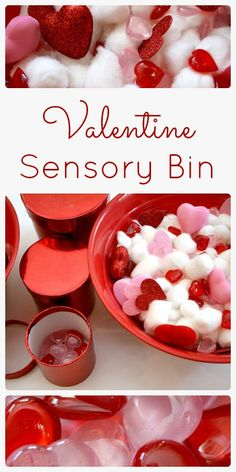 Valentine Sensory Bin made with materials from the Dollar Tree