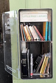 I am partial to this Little Free Library Design because it makes ingenious use of abandoned kiosks that were previously eyesores and a reminder of an era past its prime.  I have big questions about little libraries: how do they complement/ replace services at traditional libraries? What can other libraries do that these cannot, and vice verse? Can they expand to provide more than books? Should they? Three cheers for improved access and intellectual freedom! www.littlefreelibrary.org