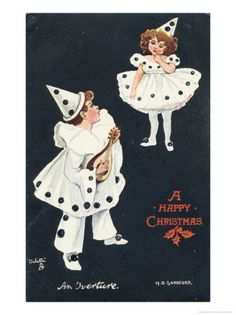 A happy Christmas vintage card with a pierrot and a pierrette.