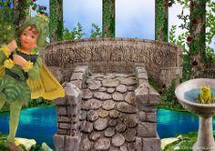 Building a bridge in the fairy garden.