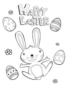 Happy Easter - Free Printable Coloring Page.