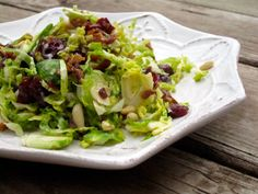 Shaved Brussels Sprouts Salad with Bacon Parmesan Cranberries