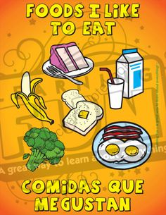 Foods I like to eat / Comidas que me gustan from Learning_Fun on TeachersNotebook.com (17 pages)  - Common FOODS coloring book for English/Spanish students. Libro para colorear de COMIDAS comunes para estudiantes de Inglés/Español.