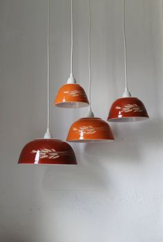 Autumn Harvest - Brick Red and Orange Milk Glass Mixing Bowl Hanging PYREX Pendants Lights - OOAK UpCycled BootsNGus Lighting Fixtures. $325.00, via Etsy.
