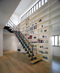 Staircase and bookshelves.