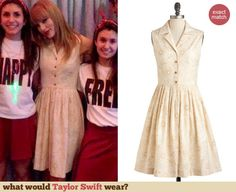 Taylor Swift's Cream sleeveless shirtdress at Club Red in Toronto: http://wwtaylorw.com/2755/