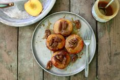 Four ideas for campfire-roasted fruit (recipe: Caramel Peaches with Pecans)