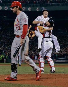 Boston Red Sox relief pitcher Koji Uehara and David Ross