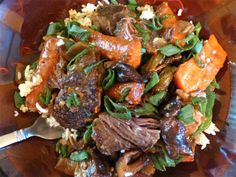 Asian-Style Sweet & Spicy Short Ribs- Crock Pot Style - the sauce is so savory, spicy, sweet… crazy flavorful. #food #grainfree #glutenfree #dairyfree #maindish #crockpot #asian #shortribs